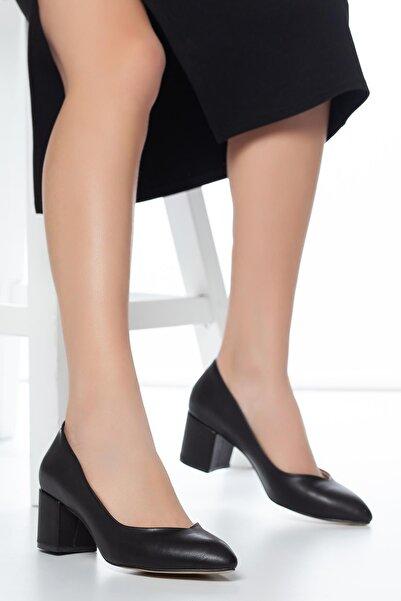 MUGGO Kadın Siyah Klasik Topuklu Ayakkabı W706