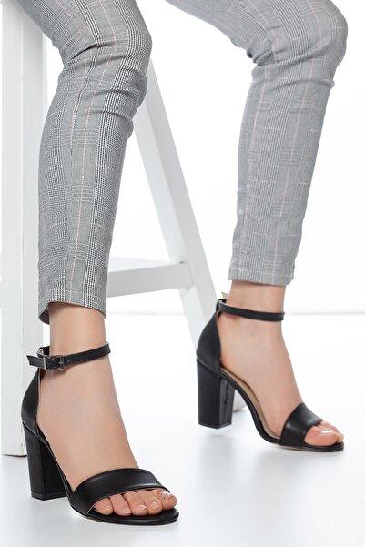 MUGGO Kadın Siyah Klasik Topuklu Ayakkabı