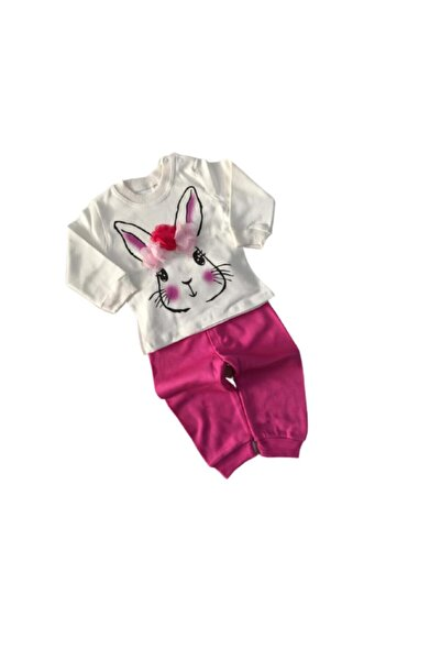 Nikubi Kız Bebek Fuşya Tavşan Takım