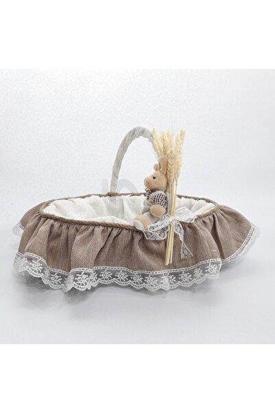 Sevgi Bağı Bebek Şekeri Sunum Sepeti Linen Keten Kumaş Avangart Başak Buğday
