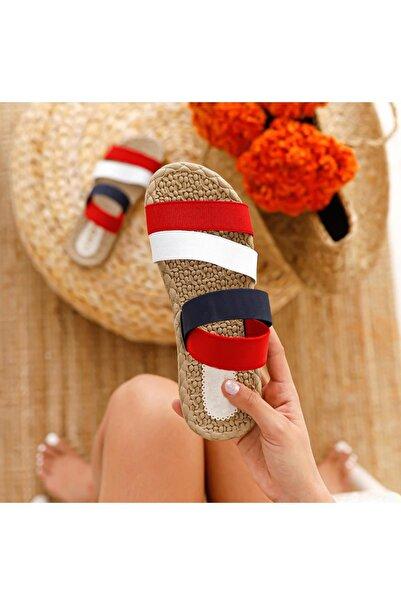 MUGGO Kadın Kırmızı Şeritli Sandalet