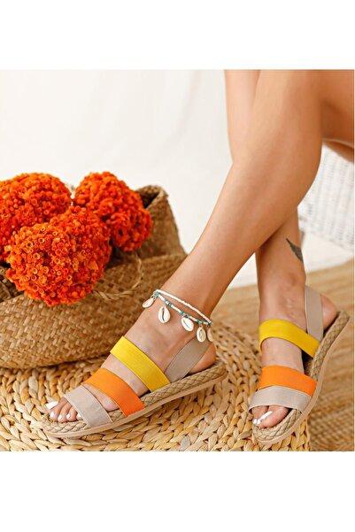 MUGGO Kadın Bej Şeritli Sandalet