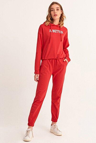 Fulla Moda Kadın Kırmızı A Better Baskılı Eşofman Takımı