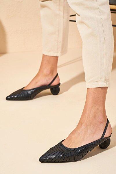 Louis Cardy Kadın Siyah Veces Hakiki Deri Sandalet