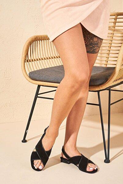 Louis Cardy Kadın Siyah Hakiki Deri Sandalet
