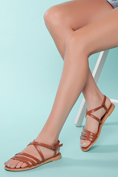 MUGGO Kadın Kahverengi Bantlı Sandalet