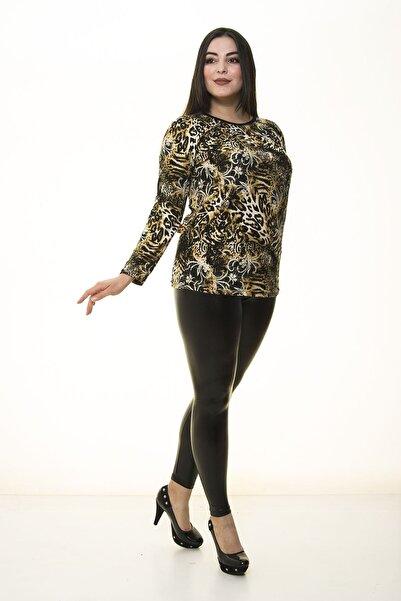 Modayız Kadın Kahverengi Desenli Esnek Bluz