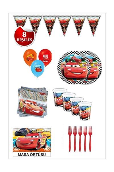 CARS Şimşek Mcgueen Arabalar Doğum Günü Seti 8 Kişilik
