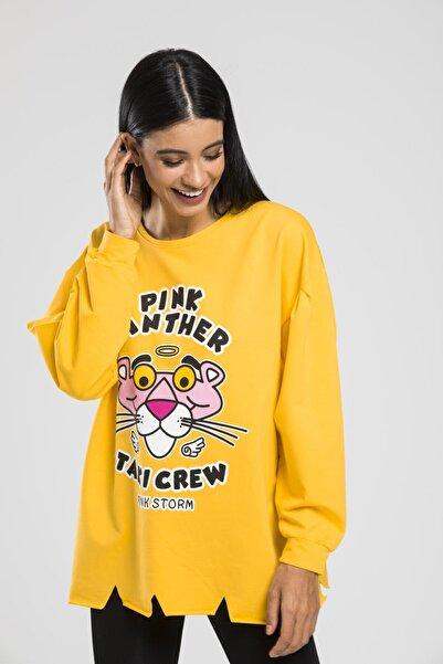 sarıbalon Baskılı Etek Ucu Detaylı Sweatshirt
