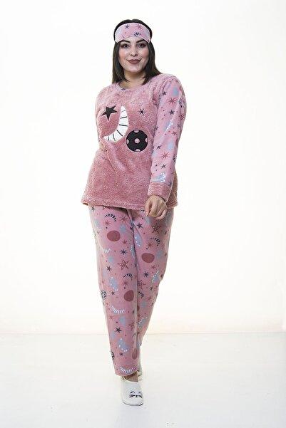 Moday Kadın Pembe Peluş Pijama Takımı 32d-1388