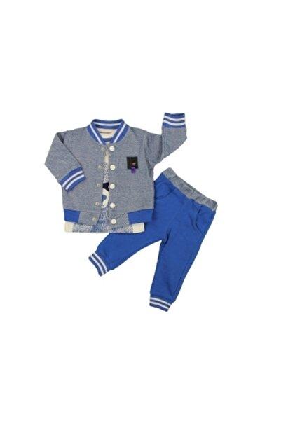 Estella Erkek Bebek Mavi Ceketli Rakun Baskılı Takım