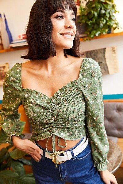Olalook Kadın Mint Yeşili Gipeli Önü Büzgülü Krep Bluz BLZ-19001206