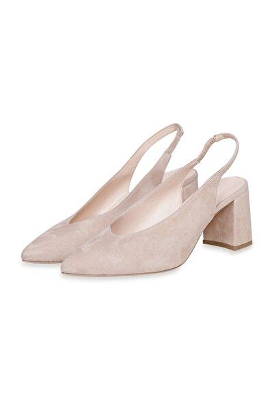 W Collection Kadın Kahverengi Deri Kısa Topuklu Süet Ayakkabı