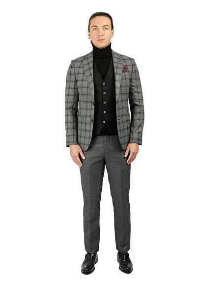 Centone Takım Elbise Ekose Yelekli Comfort Fit 20-0036