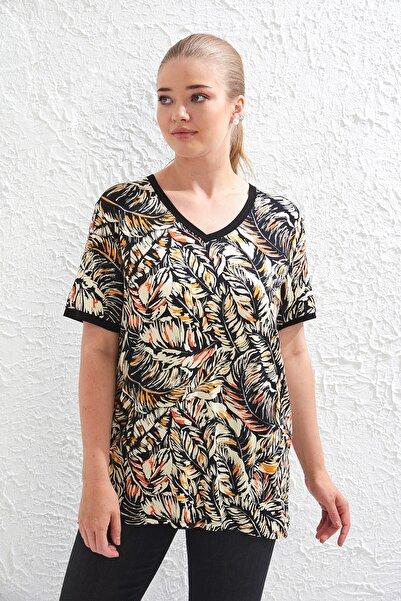 Big Free Kadın Siyah Yaprak Desen V Yaka Kısa Kol Bluz Tb20Yb451541