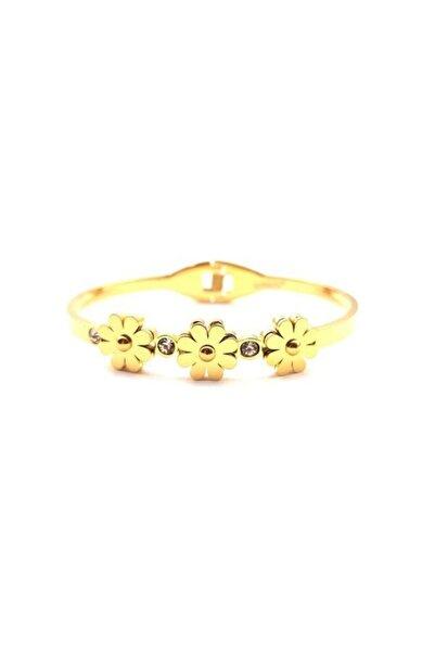 Welch Gold Çiçekli Çelik Bileklik