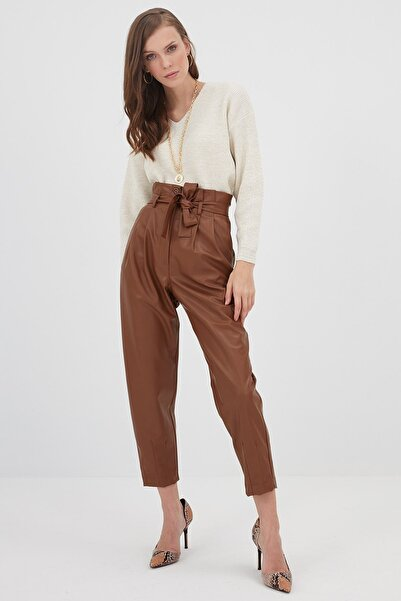 Chima Kadın Taba Deri Pantolon K21PA069