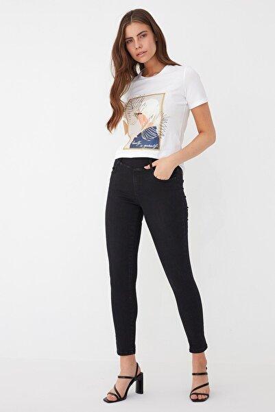 Chima Kadın Siyah Lastikli Jean Pantolon K21PA013