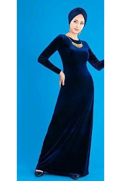 ZY BUTİK Lacivert Kadife Uzun Elbise