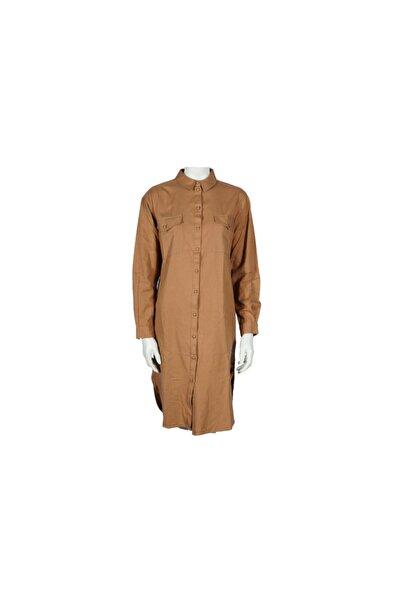 Vero Moda Kahverengi Uzun Gömlek %100 Koton 10223407