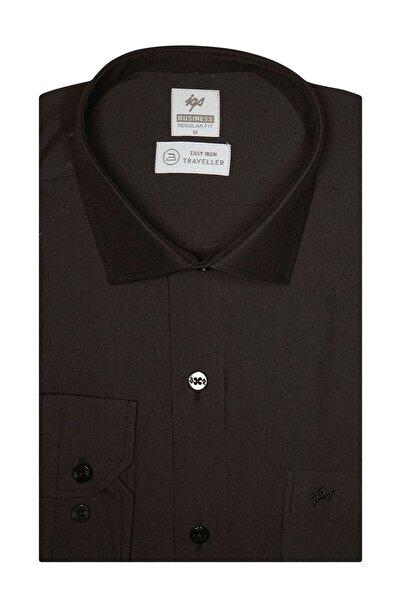 İgs Erkek Siyah Regularfıt / Rahat Kalıp 7 Cm Klasik Gömlek