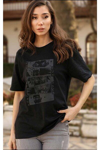 TARZZGİYYİN Kadın Siyah Oversize Rahat Kesim Bts Karakterli Tişört