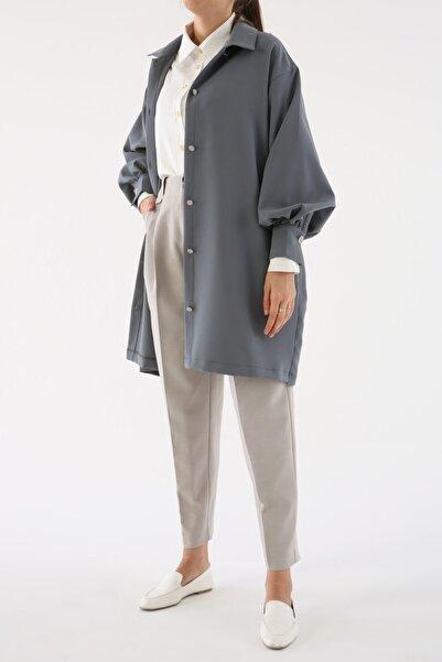 ALLDAY Kadın Gri Salaş Balon Kol Ceket