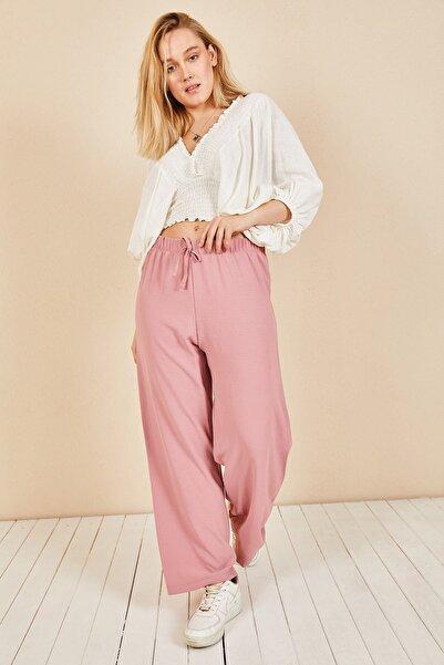 Moda Bu Huban Moda Kadın Pudra Beli Lastikli Bol Paça Salaş Yazlık Pantolon Aerobin-865829