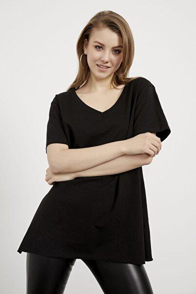 Arma Life Kadın Siyah V Yaka Yanı Yırtmaçlı Basic Tshirt