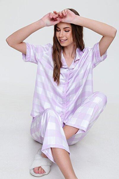 Trend Alaçatı Stili Kadın Lila Gömlek Yaka Desenli Saten Pijama Takım ALC-X6115