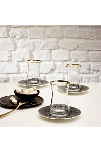 Emsan Derin 12 Parça Çay Seti Porselen Gtabaklı Çay Bardağı