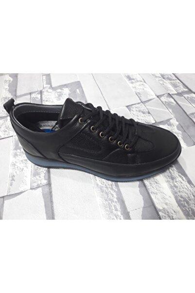 Kaşmir Erkek Siyah Hakiki Deri Günlük Spor Ayakkabı