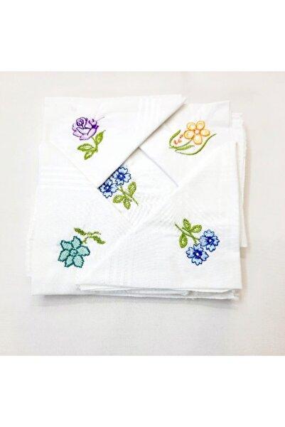 BERKAY Sun Tekstil'den Pamuklu 12 Adet Nakışlı Kadın Mendili