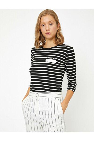 Koton Kadın Beyaz Çizgili T-Shirt 8KAP13831EK