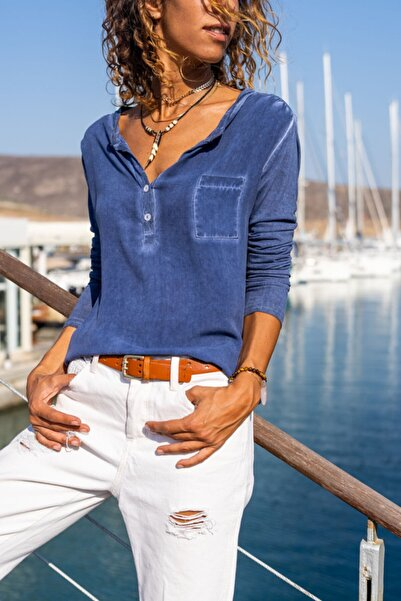 Güneşkızı Kadın İndigo Yıkamalı Tek Cep Bluz GK-CCK60015