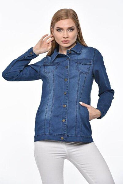 Modkofoni Düğmeli,cepli Ve Likralı Yıkamalı Düz Kesim Açık Mavi Kot Kadın Ceket
