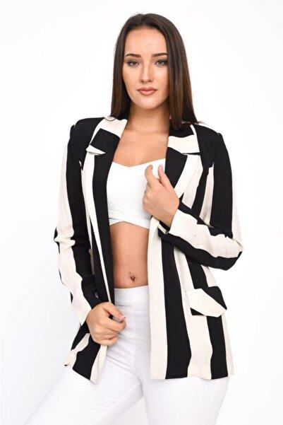 Modkofoni Uzun Kollu,klasik Yaka,cep Detaylı,beyaz Çizgili Siyah Kadın Ceket