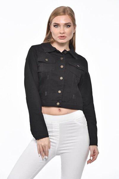 Modkofoni Düğmeli,cepli Ve Likralı Zımparalı Kısa Siyah Kadın Kot Ceket
