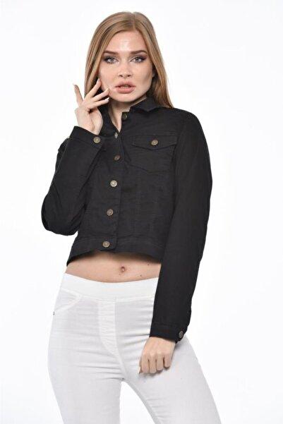 Modkofoni Düğmeli,cepli Ve Likralı Yıkamalı Kısa Siyah Kadın Kot Ceket