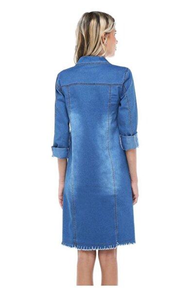 Modkofoni Püsküllü Düğmeli Uzun Açık Mavi Kadın Kot Ceket