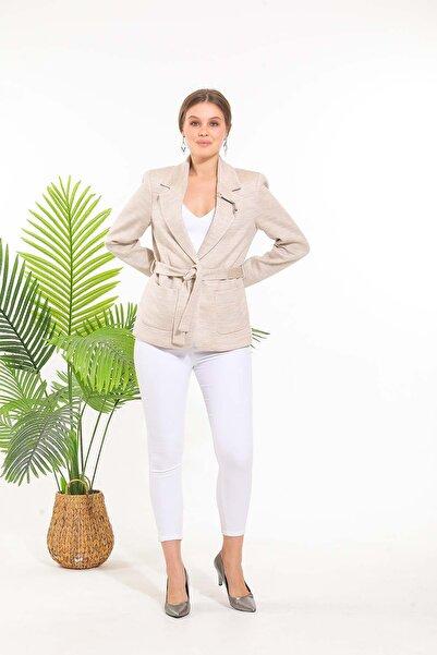 SİSLİNE Kadın Bej Triko Ceket