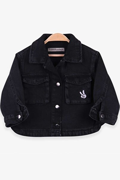 Breeze Kız Çocuk Kot Ceket Nakışlı Siyah (1-4 Yaş)