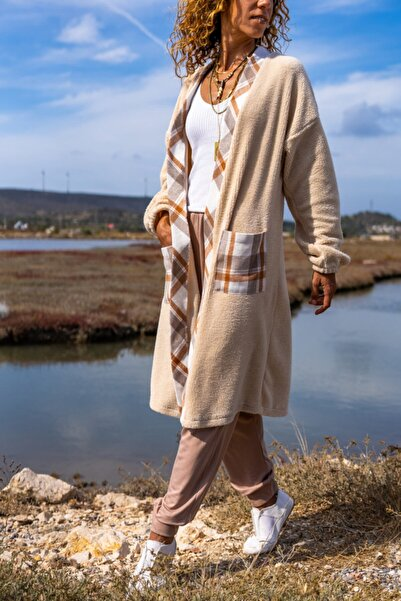 Güneşkızı Kadın Taş Peluş Uzun Salaş Cepli Garnili Ceket Gk-bst3177