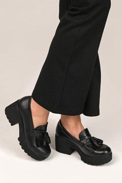 ELROZO Siyah Cilt Kadın Loafer Ayakkabı