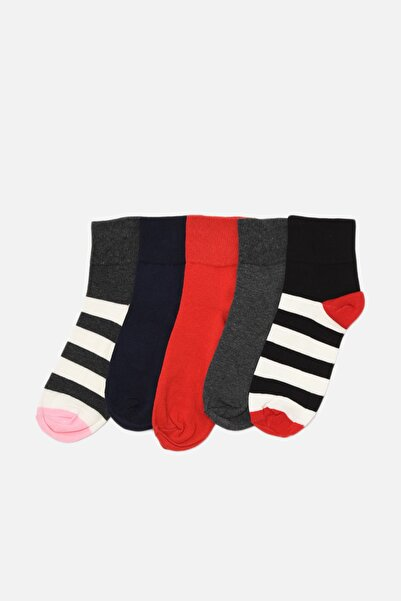 TRENDYOLMİLLA Lacivert Çizgili 5'li Paket Çorap THMAW22CO0037