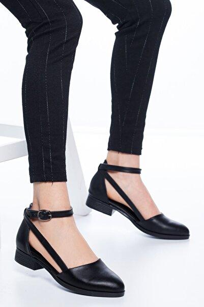 MaskButik Kadın Siyah Rayna Kısa Topuk Cilt Ayakkabı