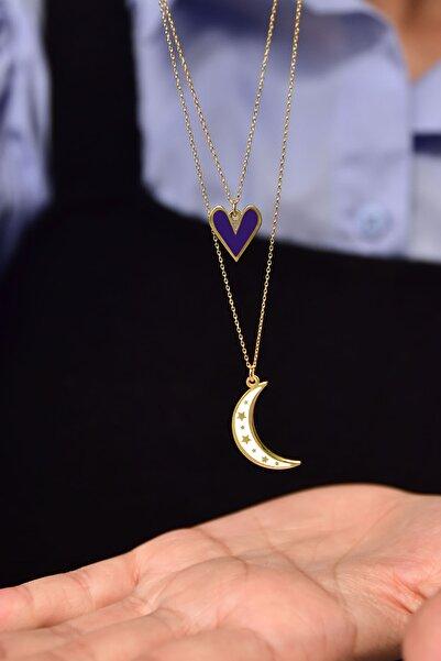 Papatya Silver 925 Ayar Gümüş Mineli Lacivert Kalp Beyaz Ay Asansör Kolye