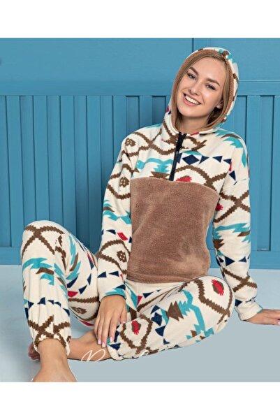 Sude Polar Kapüşonlu Pijama Takımı