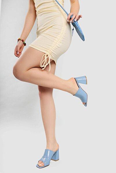 Limoya Kadın  Mavi Kırışık Rugan Kalın Topuklu Terlik
