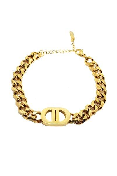 Chavin 8 Mm. Dd Harfli Gold Çelik Bayan Bileklik Ek68